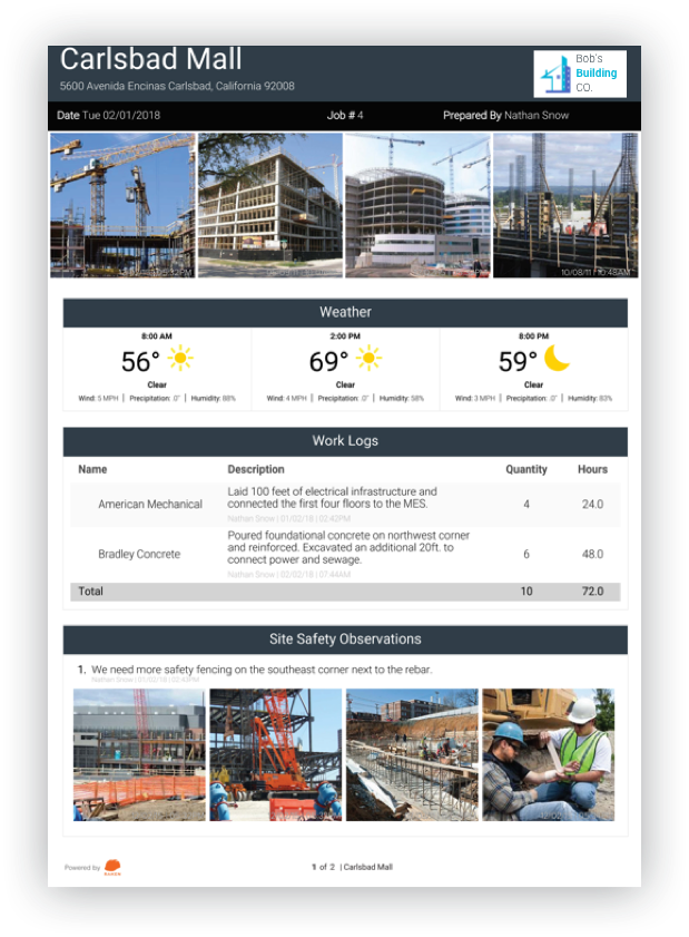 how to create a construction daily report