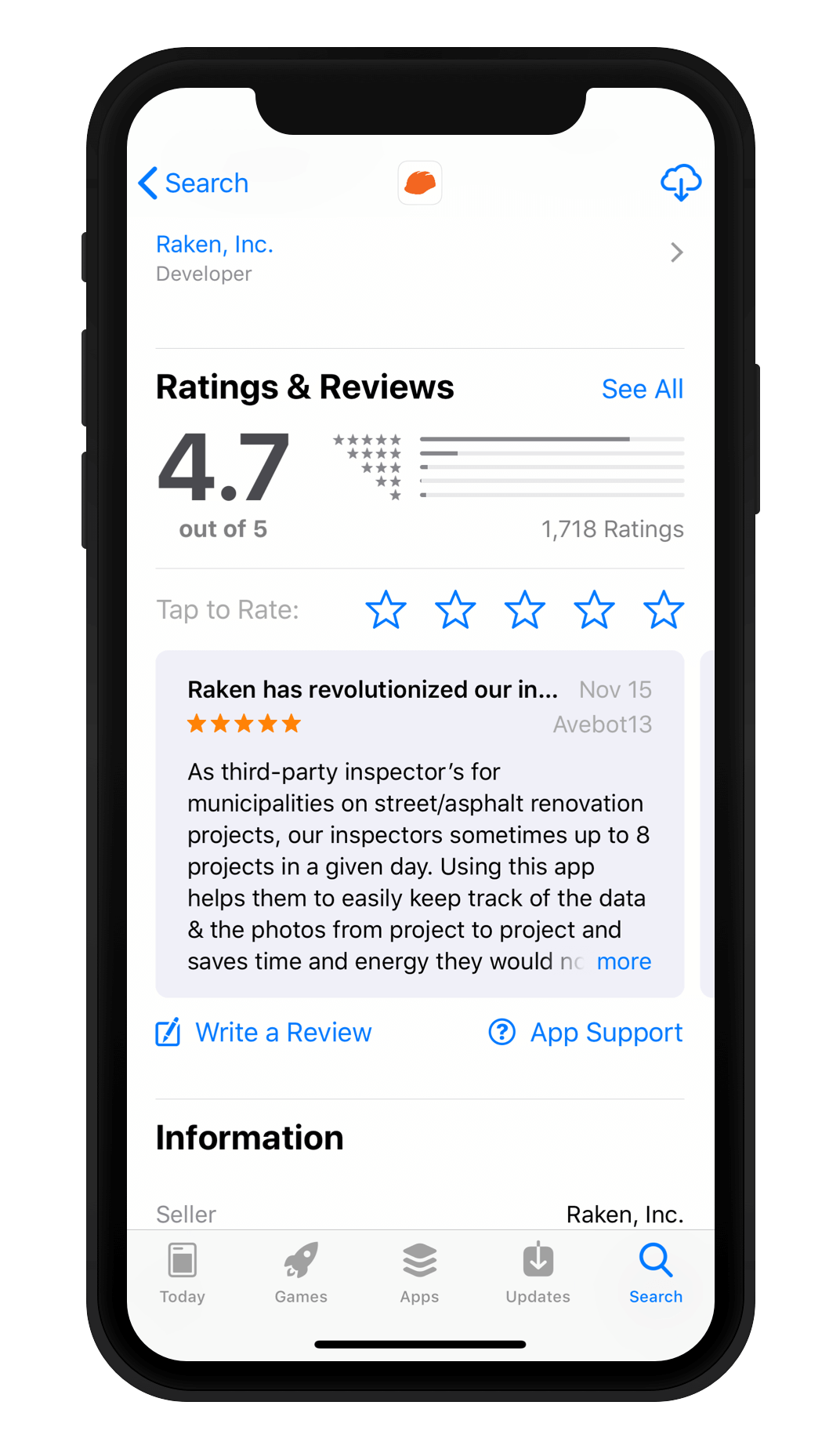 Construction Mobile App Ratings