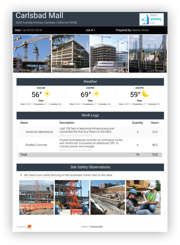 construction daily report