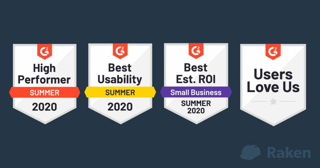 Raken's awards for High Performer and Best Usability